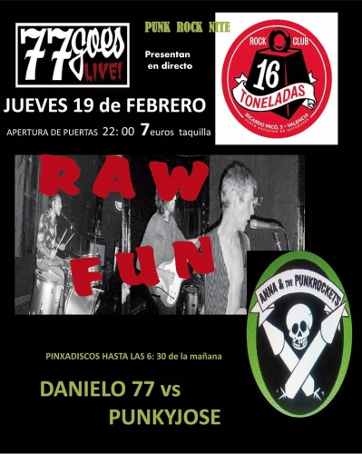 RAW FUN + ANNA & THE PUNK ROCKETS  en 16 Toneladas